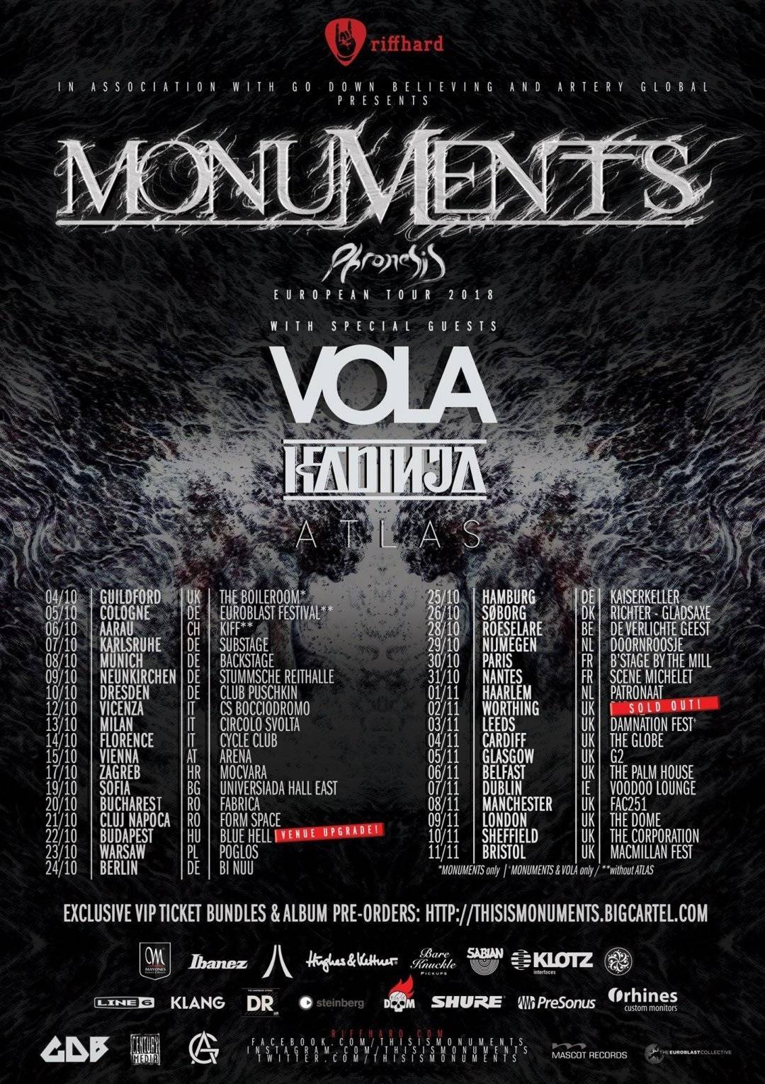 Monuments, Vola, Kadinja & Atlas in Munich, October 8 2018